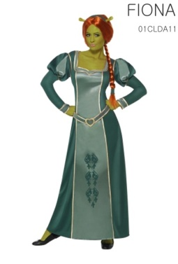 La robe, la perruque, et le bandeau avec les oreilles intégrées